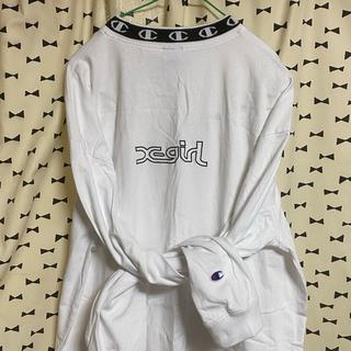 エックスガール(X-girl)のChampionコラボ モックネック 長袖Tシャツ(Tシャツ(長袖/七分))