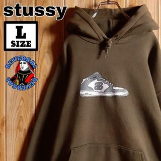 ステューシー(STUSSY)のold stussy ステューシー 紺タグ後期 スニーカーロゴ フーディー L(パーカー)