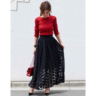 ドゥロワー(Drawer)の【新品】OBLI  リボン ドット スカート ブラック  M(ロングスカート)