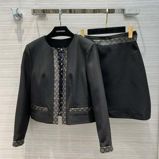ルイヴィトン(LOUIS VUITTON)のルイヴィトン☆ブラッククロップドジャケット モノグラムライン セット(ブルゾン)