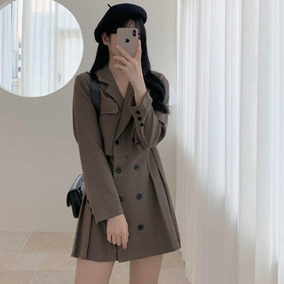 STYLENANDA - 【予約商品】トレンチ ワンピース ショート丈 ミニワンピ 韓国ファッション 秋服