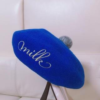ミルク(MILK)のMILKラメ ロゴ刺繍ポンポンベレー(ハンチング/ベレー帽)