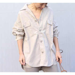 プラージュ(Plage)のplage  製品加工bigアーミーシャツ 2020SS ベージュ36(ミリタリージャケット)