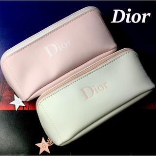 Dior - お色違いセット★ Dior 大きめ 白 × ピンク 星型チャーム付 ポーチ
