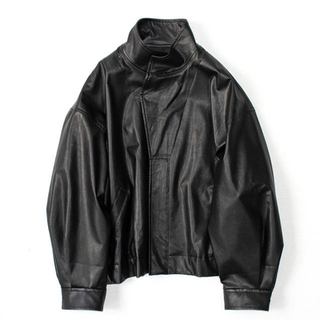 1LDK SELECT - stein over sleeve fake leather jacket