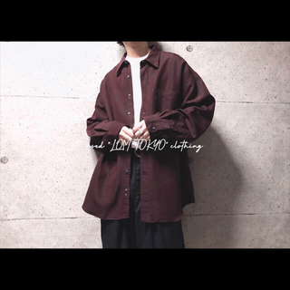XL ダークパープル ヘリンボーン オーバーサイズ 長袖シャツ メンズ シャツ(シャツ)