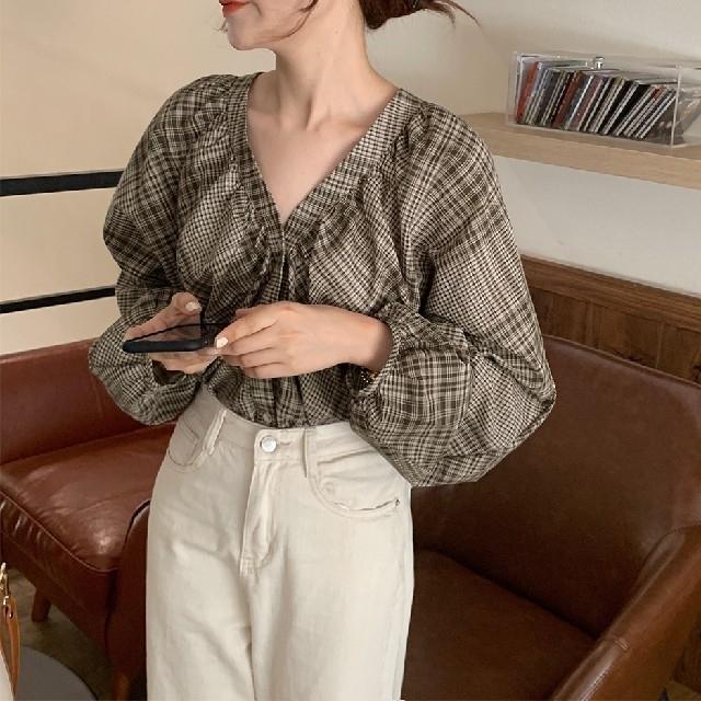 ZARA(ザラ)のパフスリーブ チェック柄シャツ レディースのトップス(シャツ/ブラウス(長袖/七分))の商品写真
