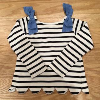 petit main - 【petit main】肩リボンスカラップボーダー長袖Tシャツ 100