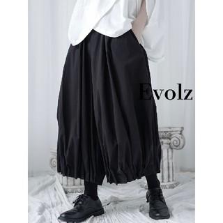 アンティカ(antiqua)のブラック 裾プリーツ バルーンパンツ(その他)