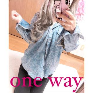ワンウェイ(one*way)の2552.one way デニム風 シャツカットソー ブルー free(シャツ/ブラウス(長袖/七分))