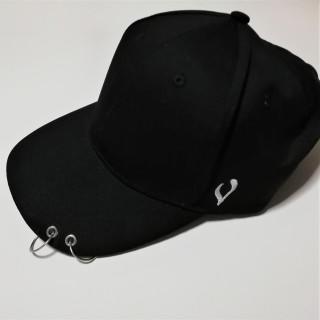 人気 リング キャップ 2連 男女兼用 メンズ レディース 帽子 ブラック(キャップ)