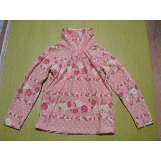ニッセン(ニッセン)のタートルネックシャツ ピンクローズ柄 サイズ 130 女の子用(Tシャツ/カットソー)