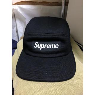 シュプリーム(Supreme)のSupreme camp cap シュプリーム 黒 キャップ レザー(キャップ)
