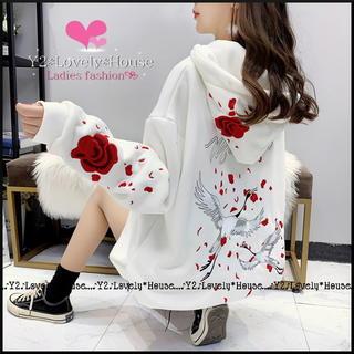 【~3L相当】鶴&薔薇刺繍パーカートレーナー*白