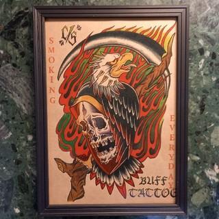 クライミー(CRIMIE)の「スモーキングイーグル」A4サイズ 刺青 タトゥーフラッシュ(ミラー)