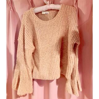 Lily Brown - ウール 綿 混 リリーブラウン  ニット 長袖 ピンクオレンジ セーター 羊毛