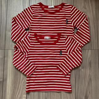 フタフタ(futafuta)のfutafuta 赤白ボーダーロンT 120 100 お揃い ハロウィン (Tシャツ/カットソー)
