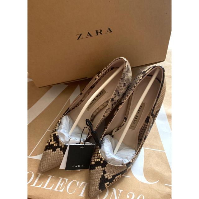 ZARA(ザラ)の【新品・タグ付き】ZARA パイソン柄パンプス チャンキーヒール 35 ヘビ柄 レディースの靴/シューズ(ハイヒール/パンプス)の商品写真