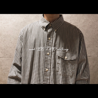 CHAPS 白 ヘリンボーン ギンガムチェック 長袖シャツ シンプル シャツ(シャツ)