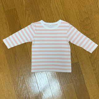 MUJI (無印良品) - 無印 長袖 ボーダー 長袖Tシャツ ピンク