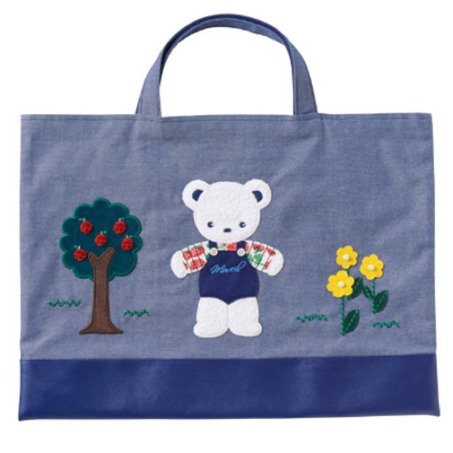 【即完売】MUVEIL×familiar デニムバッグ プレゼント包装 キッズ/ベビー/マタニティのこども用バッグ(レッスンバッグ)の商品写真