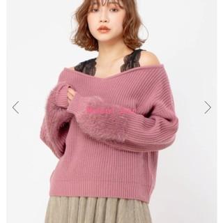 セシルマクビー(CECIL McBEE)の肩あき袖シャギー切替ニット♡ピンク(ニット/セーター)