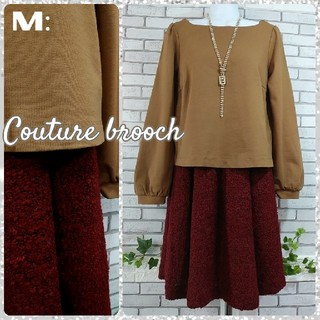 Couture Brooch - M:新品 ドッキングワンピース/クチュールブローチ★未使用★キャメル×ボルドー