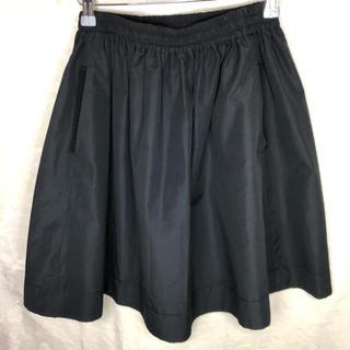 ランバンオンブルー(LANVIN en Bleu)のランバンオンブルー フレア ミディ丈 スカート ブラック(ひざ丈スカート)