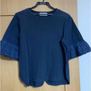 ミュベールワーク(MUVEIL WORK)のMuveil Work ネイビー 袖レースT(Tシャツ(半袖/袖なし))