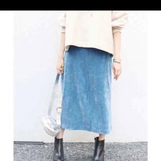 イエナスローブ(IENA SLOBE)のスーロブイエナ 細コール台形ミモレスカート(ひざ丈スカート)