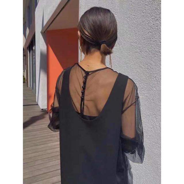Ameri VINTAGE(アメリヴィンテージ)のアメリAmeri TULLE DOCKING DRESS レディースのワンピース(ロングワンピース/マキシワンピース)の商品写真