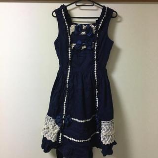 ベイビーザスターズシャインブライト(BABY,THE STARS SHINE BRIGHT)の秋冬物ベイビーザスターズシャインブライト紺色ジャンパースカート(ひざ丈ワンピース)