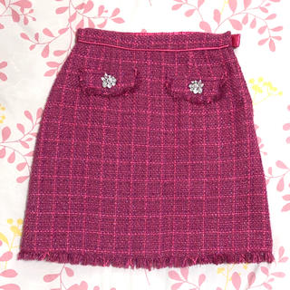 トランテアンソンドゥモード(31 Sons de mode)の31 Sons de mode ビジュー付きツイードスカート(ひざ丈スカート)