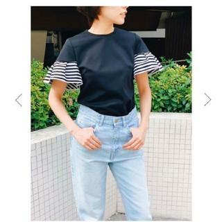 ドゥロワー(Drawer)のボーダーズアットバルコニー ギャザースリーブ Tシャツ(Tシャツ(半袖/袖なし))