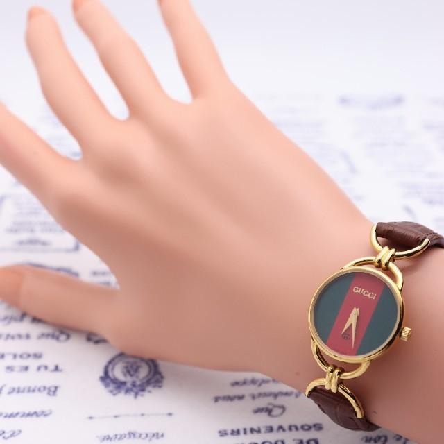Gucci(グッチ)の正規品【新品電池】GUCCI 6000L/人気モデル シェリーライン 動作品 レディースのファッション小物(腕時計)の商品写真