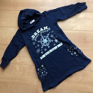 ニシマツヤ(西松屋)の女の子 パーカーワンピース  ネイビー 110 雪 結晶 アナ雪(ワンピース)