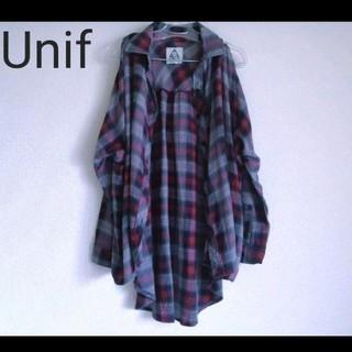 UNIF - ユニフ UNIF シャツ ワイド チェック オープンショルダー 長袖