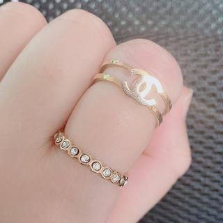 新品 ココマーク二段指輪 ステンレス キラキラ ピカピカ