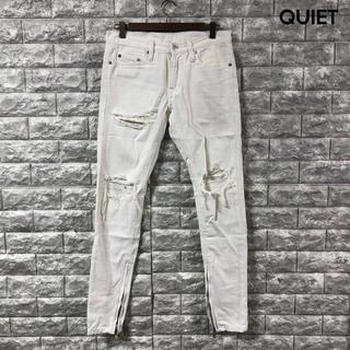 mnml ミニマル 【サイズ28】 デニム クラッシュ加工 パンツ 裾ジップ(デニム/ジーンズ)