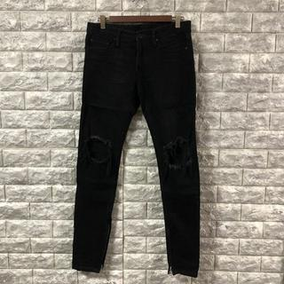 mnml ミニマル サイズ28 ブラック デニム クラッシュ加工 裾ジップ(デニム/ジーンズ)