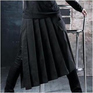 V系 黒メンズスカート 男装女子 ゴシック系 ユニセックス ビジュアル系