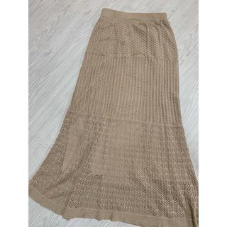シマムラ(しまむら)の鍵編みロングスカートベージュM プチプラAYA(ロングスカート)