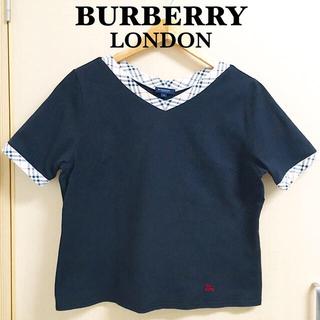 BURBERRY - バーバリー ロンドン Vネック 半袖 カットソー Tシャツ 黒 チェック柄