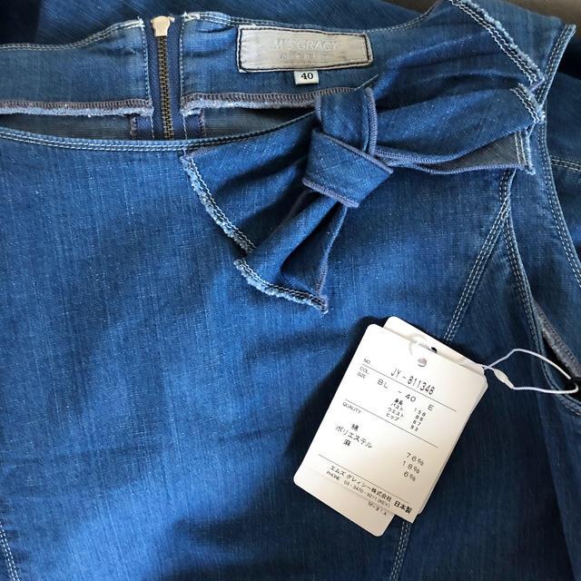 M'S GRACY(エムズグレイシー)のビョル様専用 エムズグレイシー   デニムおリボンワンピース size40 レディースのワンピース(ひざ丈ワンピース)の商品写真