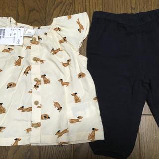 エイチアンドエム(H&M)の☆H&M エイチアンドエム☆ブラウス パンツ セット 70 新品 イヌ柄 可愛い(ワンピース)