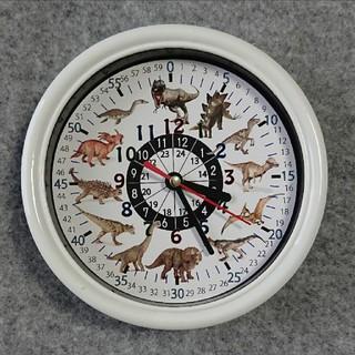 恐竜 24時間表記入り 白枠 掛け時計(知育玩具)