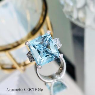 職人さんデザイン豪華8.42ct大粒アクアマリン宝石指輪