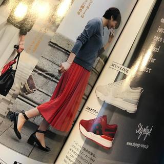 マカフィー(MACPHEE)のマカフィー ロング プリーツ スカート 赤(ロングスカート)