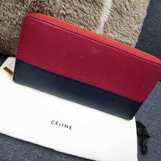 celine - 正規品☆セリーヌ 長財布 バイカラー ラウンドファスナー 赤 バッグ 財布 小物