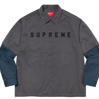 Supreme - Supreme 2-Tone Work Shirt Dark Grey L